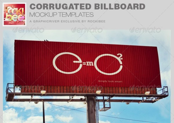 Corrugated Billboard Mockup Template