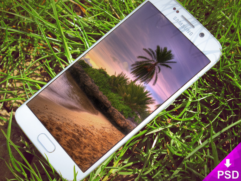Samsung Galaxy Edge Grass Mockup