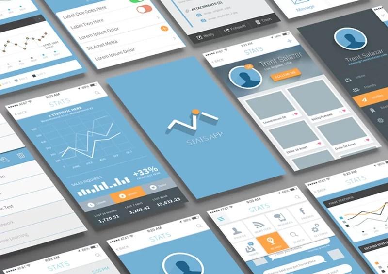 best free Mobile App UI Mockup PSD