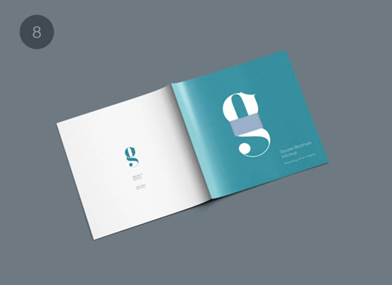 unique free business square brochure mockup psd