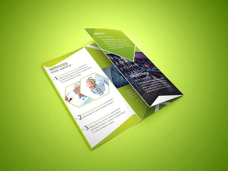 unique business corporate trifold brochure psd template