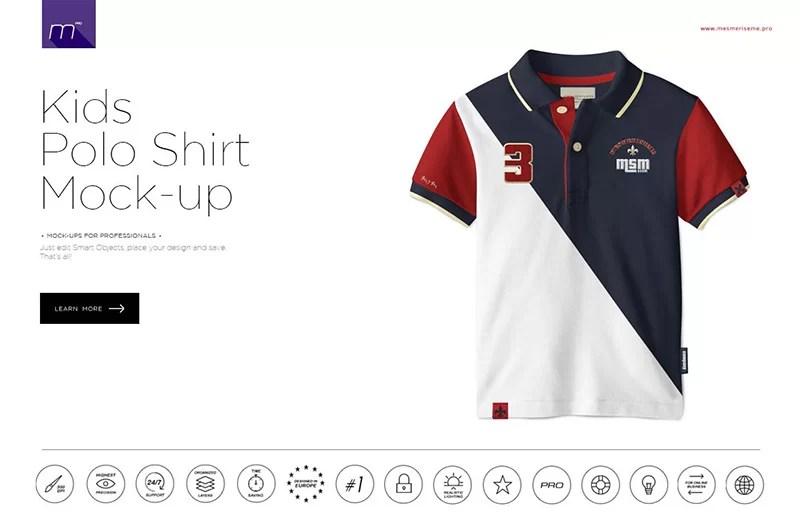 beautiful kids polo shirt mockup premium psd