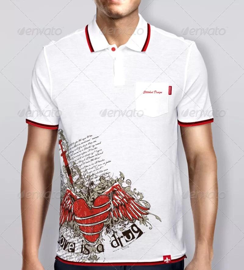 cool premium template polo t-shirt psd mockup