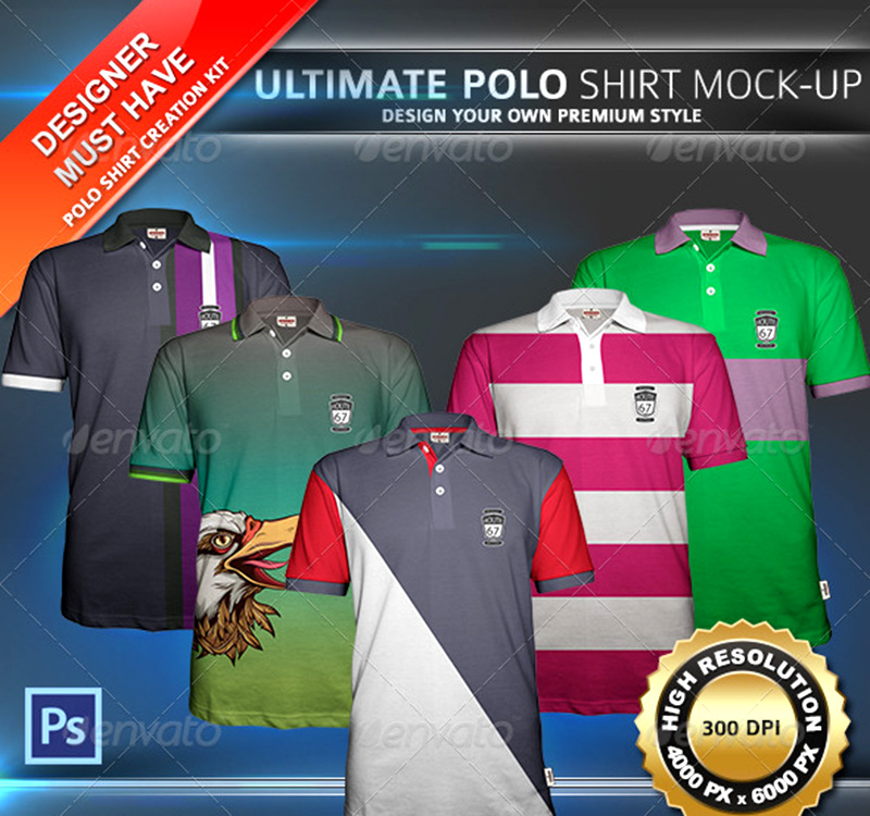 great premium polo shirt mock-up psd