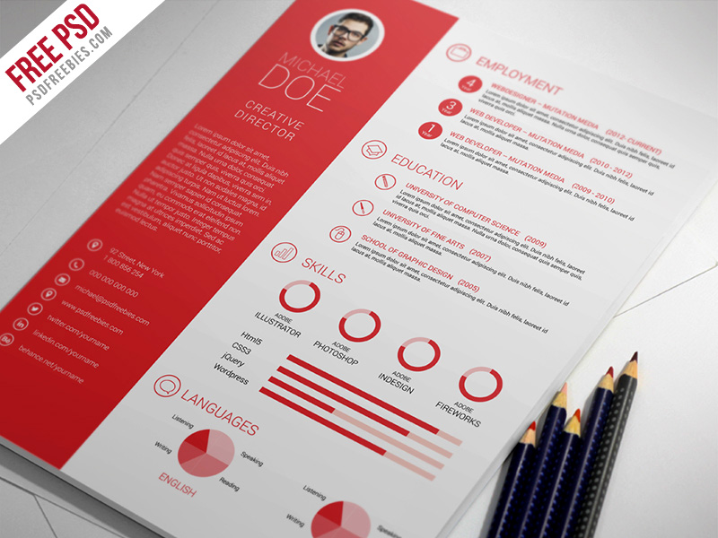 awesome PSD resume templates free download