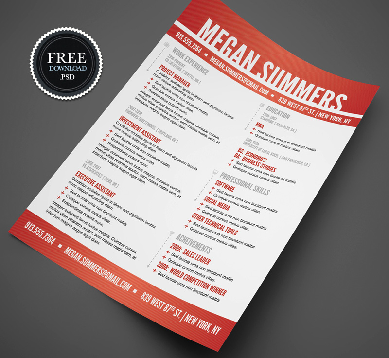 free download amazing resume templates in psd