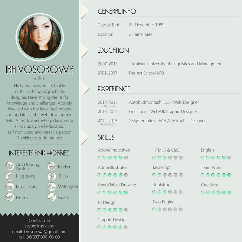 Free Resume Template (mint Design)  Free Resume Design Templates