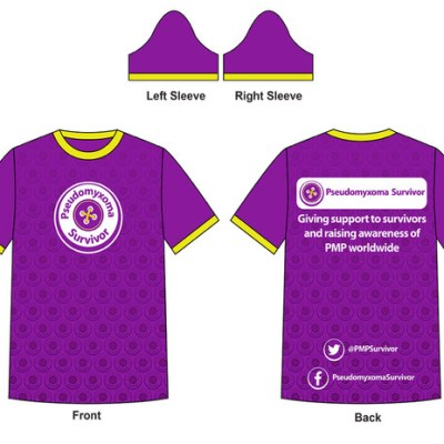 Illustration of Pseudomyxoma Survivor running shirt with button logo to front and slogan to rear.