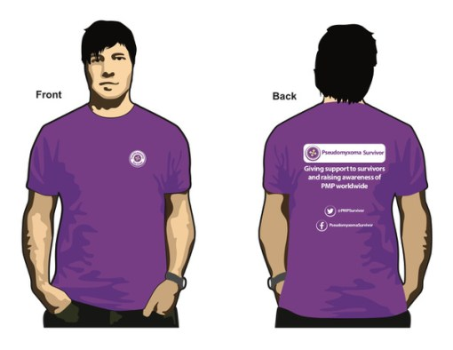 Illustration of a man wearing a Pseudomyxoma Survivor cotton tee shirt. Button logo on the front. Slogan to rear.