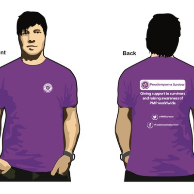 Illustration of a man wearing a Pseudomyxoma Survivor cotton tee shirt. Button logo on the front. Slogan to rear.