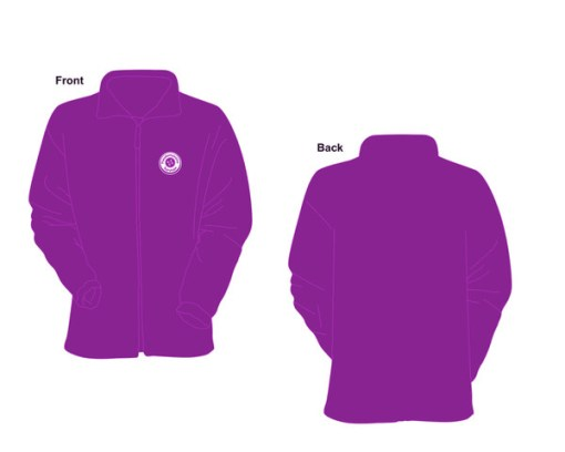 Illustration of the front and back of the Pseudomyxoma Survivor fleece, purple with an embroidered button logo.