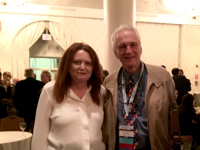 Susan Oliver, chair of Pseudomyxoma Survivor, with Dr Paul Sugarbaker