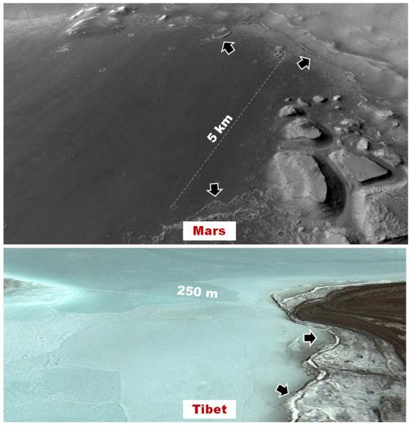 Perspective views of (top) the floor of a basin where Rodriguez and others propose in this investigation that shallow lakes could have formed within the last few tens of millions of years, and (below) the floor of a proposed Martian analog high mountain lake in the Tibetan plateau, where Rodriguez will conduct a field investigation this coming summer.  The arrows in both panels identify similar ridges that surround the basin's floor. In the Tibetan lake case, the ridges are thought to form as sediments are pushed outwards by the freezing waters. These types of ridges might be diagnostic shoreline feature of lakes that formed under extremely cold and dry Martian conditions. A key objective of the planned field expedition is to investigate these bizarre shoreline features and characterize their astrobiological potential.