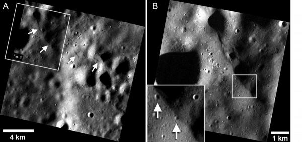 A. A cluster of small lobate scarp thrust faults on Mercury's intercrater plains (~38.90° N, 27.93° E). The longest scarp in the cluster (upper arrows) is ~4.3 km in length. (MESSENGER Mercury Dual Imaging System (MDIS) image frame number EN1029769395M). B. Close up view of small scarp shown in A. Inset: A small impact crater ~90m in diameter (lower arrow) is potentially disturbed or crosscut (note the lack of a well-defined rim on the scarp face) by the scarp segment, and another crater ~135m in diameter (upper arrow) may be horizontally shortened. The box in B shows the location of the inset. Figure modified from Watters et al., 2016.