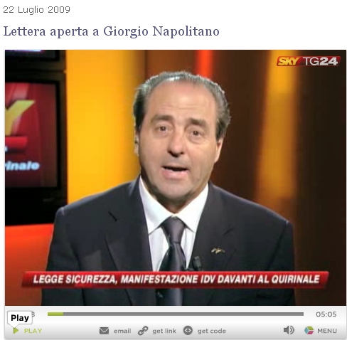 Lettera di Antonio Di Pietro al Presidente della Repubblica