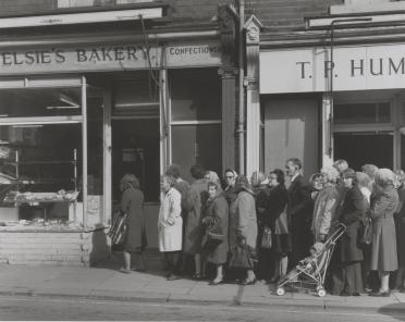 People queuing outside of bakery during flour shortage ('the bread strike') 1977, printed 2010 by Chris Killip born 1946