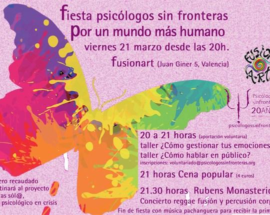 El próximo viernes 21 de marzo Psicólogos sin Fronteras celebra una fiesta solidaria para apoyar el crowfunding que estamos llevando a cabo para desarrollar el proyecto No estas sól@, apoyo psicológico en crisis