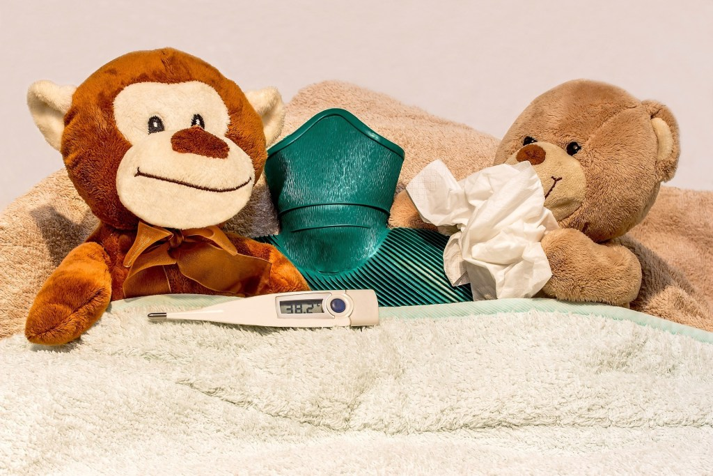 2 teddy bears with a hot water bottle, thermometer, and tissue trying to get well