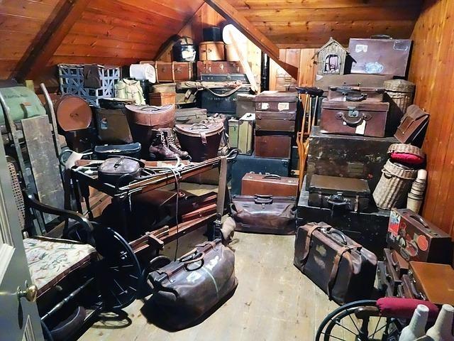 Lots of clutter in an attic