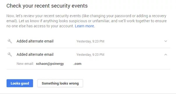 Check your recent security events