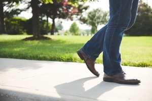 walking sidewalk man shoes