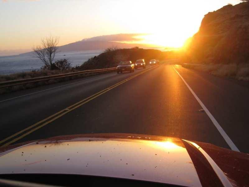 traffic morning sun