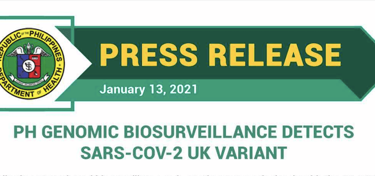 DOH: PH Genomic Biosurveillance Detects SARS-COV-2 UK Variant