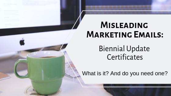 What is a biennial update certificate