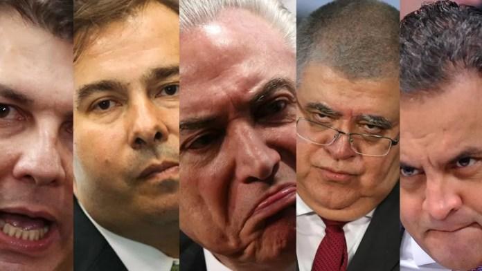 Cinco corruptos que querem acabar com a sua aposentadoria Temer,rodrigo maia, marum, Arhur Maia e Aecio neves