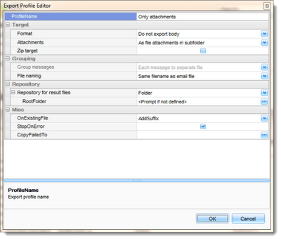 Editing the .pst export profile