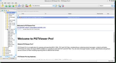 PstViewer Pro opens Outlook .msg files. Screen shot.