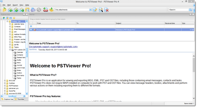 PstViewer Pro opens Outlook .msg files. Screen shot.
