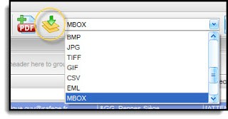 Image shows selection of the MBOX export option in Pst Viewer Pro.