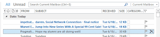 In Outlook 2013, you can delete email messages directly from the Mail View by clicking on X.