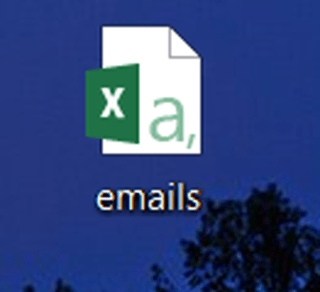 """Microsoft Excel document logo on a Windows desktop, with a file named """"emails."""""""