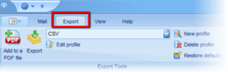 The export tab in PstViewer Pro is where email export formats are selected.