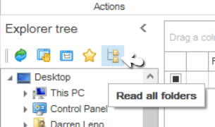 Screenshot of Pstviewer Pro showing location of the Read All Folders function.