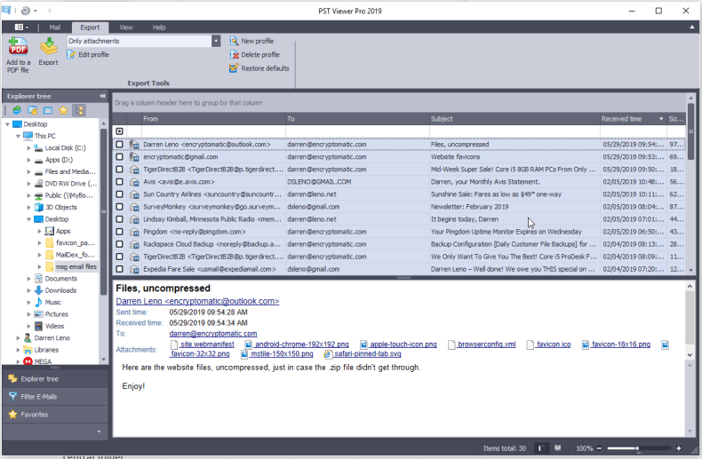 Screen shot of PstViewer Pro software with multiple emails selected for file attachment extraction processing.