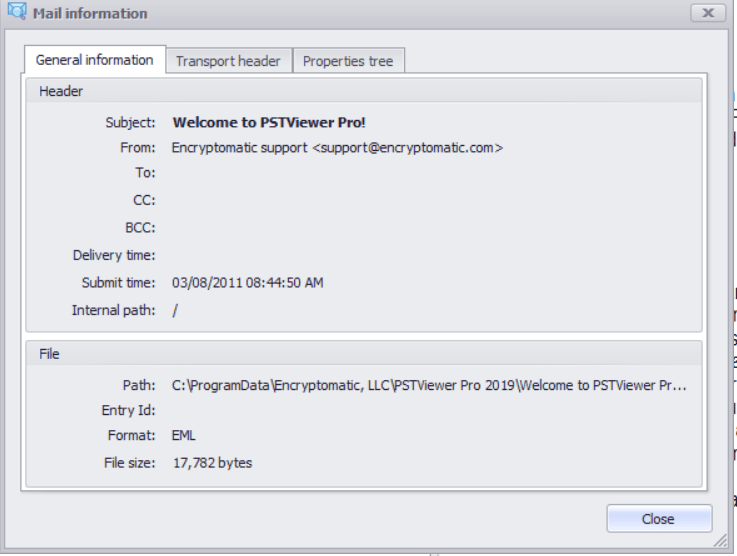 Screen image showing General Information about an email message in PstViewer Pro software.