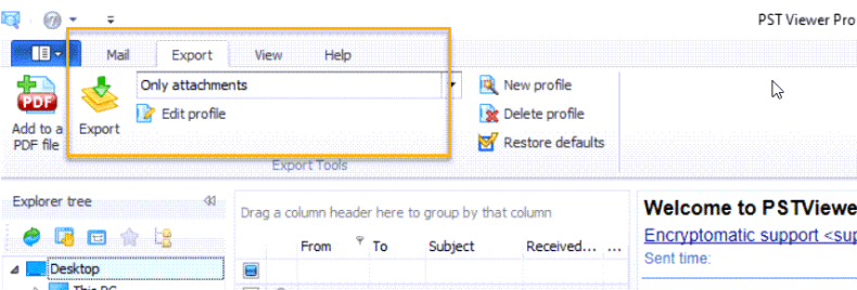 """Location of """"Only Attachments"""" export profile in PstViewer Pro email viewer."""