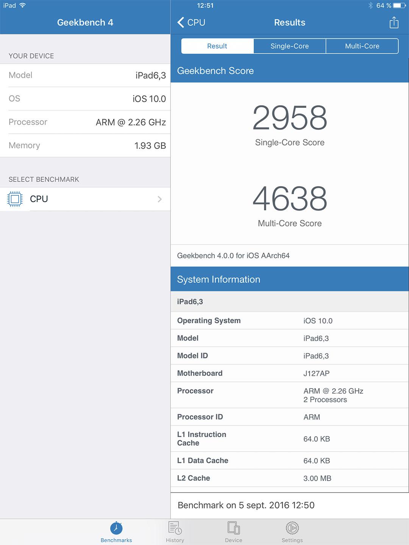 GeekBench Ipad Pro 9,7 pouces