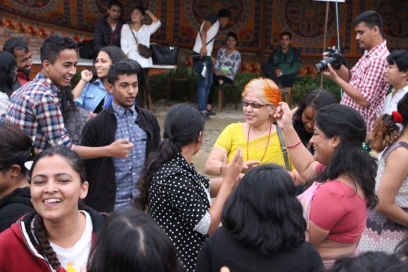 Even Department Heads cannot stop grooving with students while ending the program. In picture (In sari), Ass. Prof Kishor Thapa and Minarva Jonche, (Depart Head and MA coordinator, PK campus)