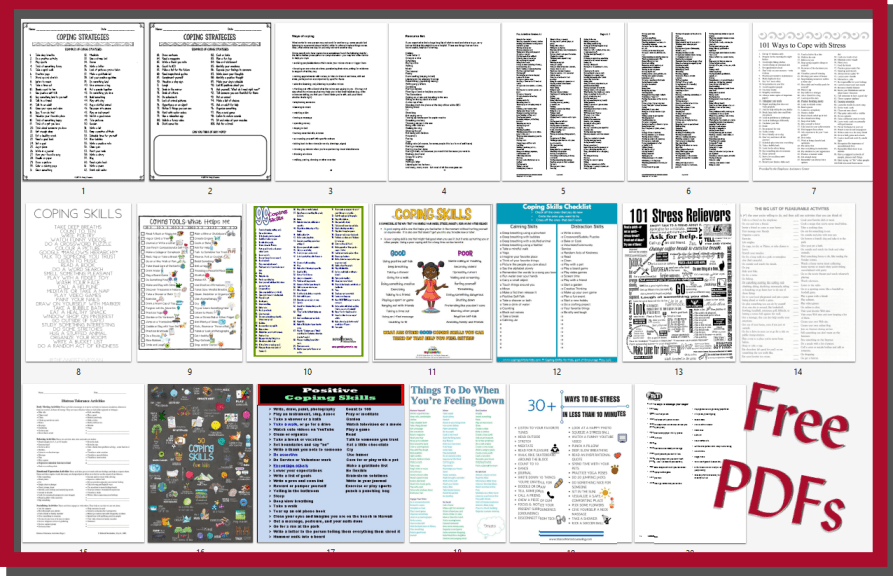 """Picture shows 20 separate handouts on Coping Skills with a red border and words, """"Free PDFs""""."""