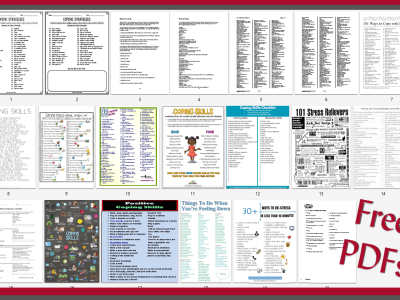 "Picture shows 20 separate handouts on Coping Skills with a red border and words, ""Free PDFs""."