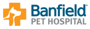 Banfield Pet Hospital logo with orange cross containing dog and cat silhouettes