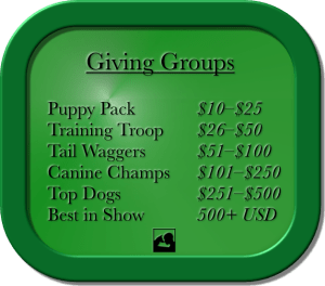 Graphic: rounded, 3-D green rectangle with black words and PSDP dog and human nose-touch logo. Text: Giving Groups, Puppy Pack $10–$25, Training Troop $26–$50, Tail Waggers $51–100, Canine Champs $101–$250, Top Dogs $251–$500, Best in Show 500+ USD