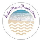 CalmWave Productions logo: all within a circle, purple script name rounded on top of beach wave picture with white wave lines edited into the sand.