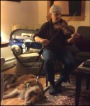By low lamplight, a seated woman with short gray hair concentrates on playing a violin. A medium-sized, long-haired light brown and white Sheltie is attached by leash to the chair, lying on its side sleeping with its harness on next to the woman's feet.
