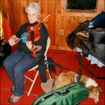 In a room with oxblood carpet and wood-paneled walls, a woman with short gray hair wearing blue jeans and a black t-shirt studiously plays a violin while seated. Connected to her chair by a black leash is a sleeping Sheltie wearing a vest. A green instrument case is in the foreground and the furniture to the right appears to be covered in other instrument paraphernalia arranged in a way indicating many instruments are in use close by.