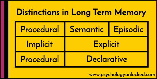 distinctions in long term memory